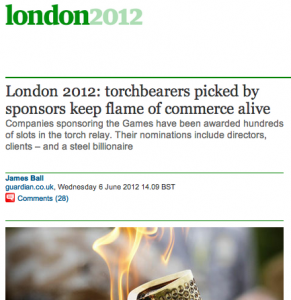 Guardian cover HMI's olympic torchbearer investigation