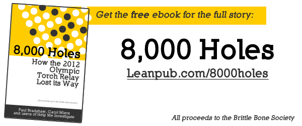 Get the free ebook for the full story: 8,000 Holes: How the 2012 Olympic Torch Relay Lost its Way - Leanpub.com/8000holes