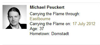 Michael Peuckert is carrying the Olympic Torch in Eastbourne - he works as a photographer with Samsung products featuring heavily in his work
