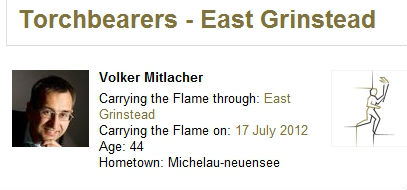 Volker Mitlacher is carrying the Olympic Torch in East Grinstead