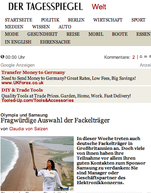 der Tagesspiegel's story on the corporate Olympic torchbearers