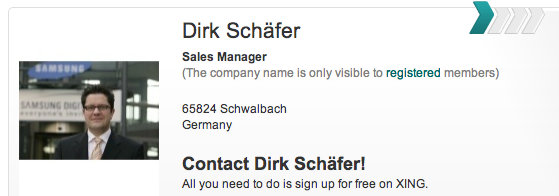 Dirk Schafer's online profile, which also lists his home as Schwalbach