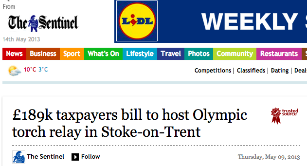 Stoke Olympic torch relay costs